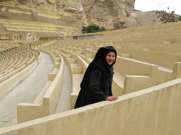 Women at the famous Cave Church just outside Cairo